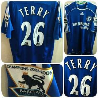 Signed John Terry 26 Chelsea Adidas Home Kit EPL 2006-2008 Jersey SS Men M Ori
