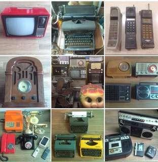 Vintage Retro Antique 60's 70's 80's Television Radio Telephone Moblie Phone Typewriter Period Movie Props for Rent