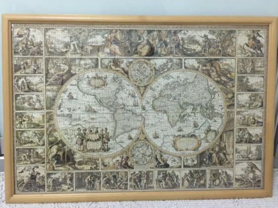 Antique World Map Puzzle.1000 Piece Antique World Map Jigsaw Puzzle With Frame Toys Games