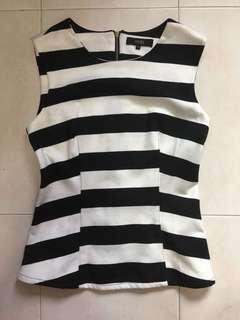 MDS sleeveless top black white stripe/ Orange Formal top