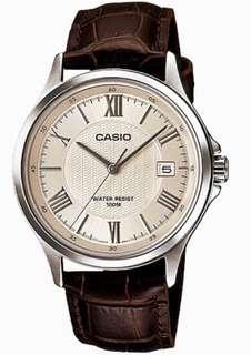Casio MTP-1383L 3-hand leather strap Roman number analog wrist watch. Casio 3-針 皮帶 羅馬字 石英行針表