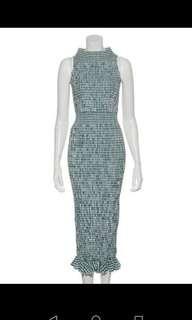 Snidel 限量復古綠色格紋修身顯瘦思馬克壓皺連身裙op