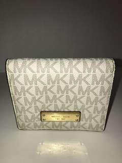 Michael Kors White Monogrammed Bi Fold Wallet