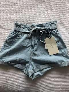 Denim tie up shorts
