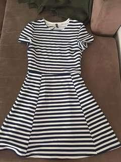 Marine striped skater a line dress