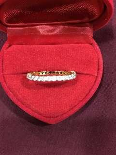18k gold plated diamond cubic zircon ring. Size US6 or Malaysian Size 13.