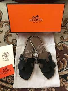 Hermes Leather Oran Slippers Sandals