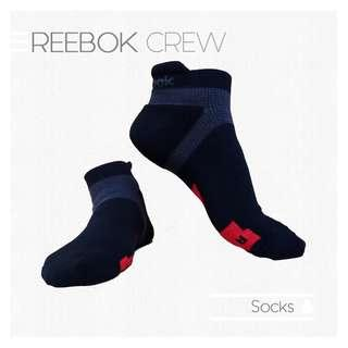 REEBOK Crew Sport Performance Sock Kaos Kaki Olahraga Hitam Abu Merah