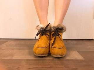 Fluffy Suede block heel booties