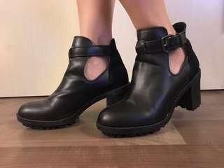 Leather block heel booties