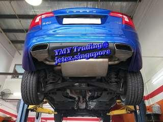 You have the  choice either to have the sporty look or classic original look tip design. This owner Volvo S60 T5 has chosen to replace with Jetex LTA approval exhaust system with Duplex left & Right 100mm tip look instead..