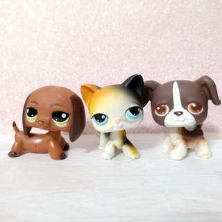 Littlest Pet Shop lps shorthair, dachshund and boxer