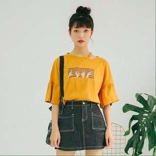T-shirt o neck import (mustard)