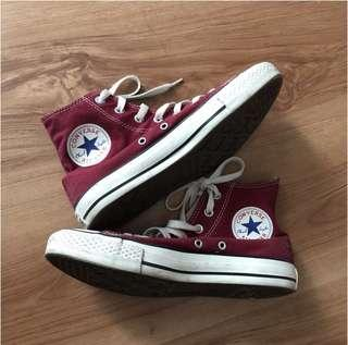 Authentic Maroon High Top Converse