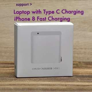 Xiaomi USB-C/PD Charger 45W(Support iP8/X fast charging)