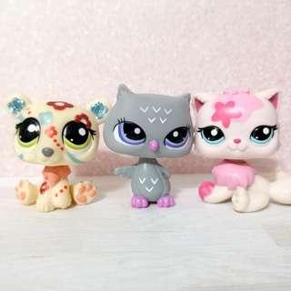 Littlest Pet Shop lps figurines - sparkle polar bear, owl and persian cat