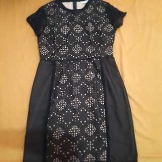 Dress black laser cut dress with peach shirring