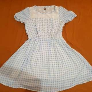 Alice blue checkered country flower dress