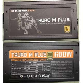 XIGMATEK Tauro M Plus 600W 80PLUS Bronze power Supply (used but 95% new)