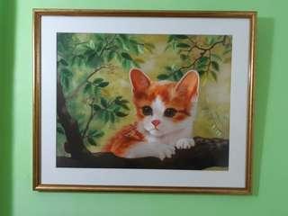 Superb hand embroidered and framed lifelike cat