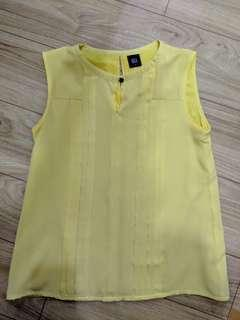 Yellow Pleated Work Blouse