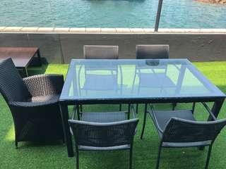 Outdoor table chairs garden patio