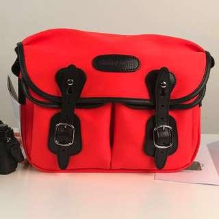 BILLINGHAM HADLEY SMALL SHOULDER BAG - NEON RED WITH BLACK LEATHER TRIM