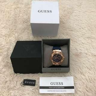 Guess rhinestones rosegold and blue rubber watch