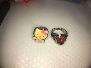 Two rings (kitty and red)