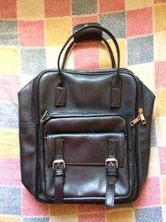 Black (Kanken/Anello Inspired) Leather Backpack