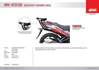 HRV HEAVY DUTY GIVI RACK SYM VF3 185I