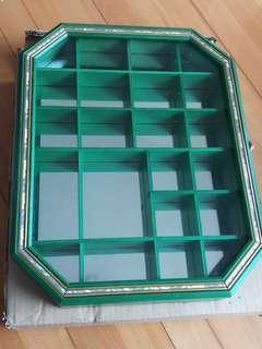 綠色古典掛牆镜子實木飾物架
