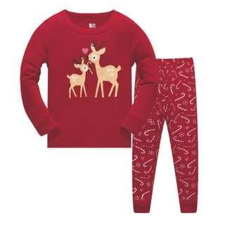 🚚 KOR135 Toddler Kids Pajamas PJs Sleepwear - X'mas Deer