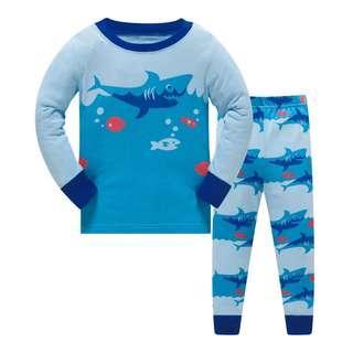 🚚 KOR124 Toddler Kids Pajamas PJs Sleepwear - Sharks 3-8 yrs