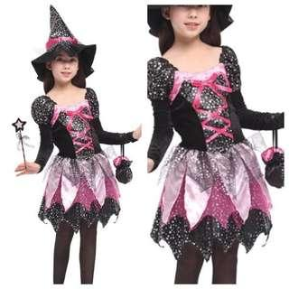 IN STOCK Kids girl witch costume Halloween witch costume trick or treat costume