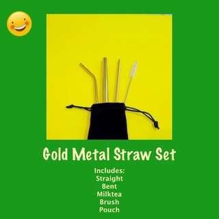 Gold / Rose Gold Reusable Metal Straw Set