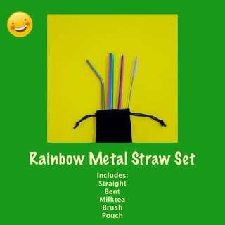 Rainbow Reusable Metal Straw Set