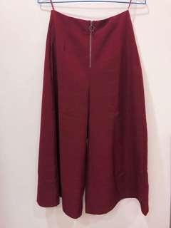 🚚 GU 酒紅色格紋寬褲(日本購回)