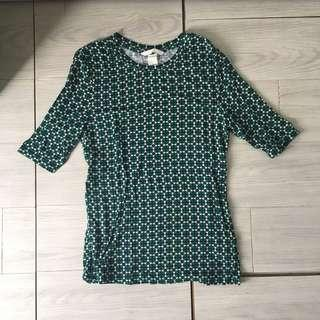 H&M Parisian Style green pattern top