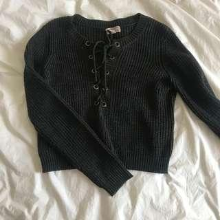 Crop lace up sweater
