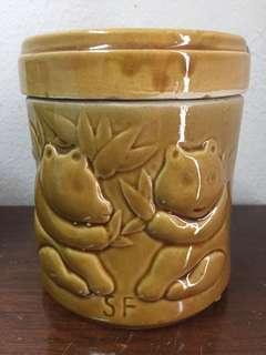 Lidded panda jars