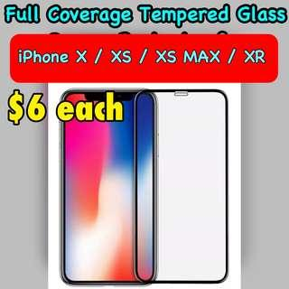 📱iphone X/XS/Max/XR Full coverage tempered glass