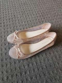 Rose gold metallic shoes