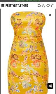 Mustard Oriental Bodycon Dress