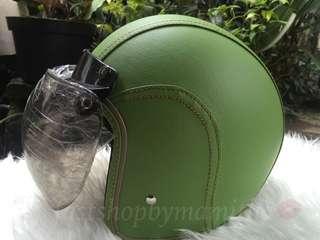 helm retro full kulit hijau polos
