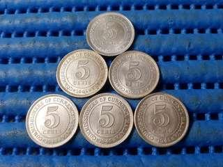 1939, 1941, 1941i, 1943, 1945 & 1945i Commissioner of Currency Malaya 5 Cents Coin KGVI ( Lot of 6 Pieces )