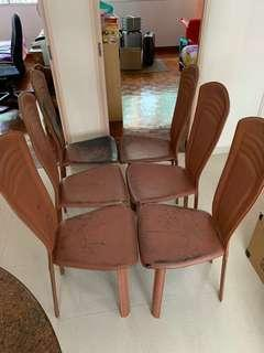 Preloved leather Dining Chairs - set of 6