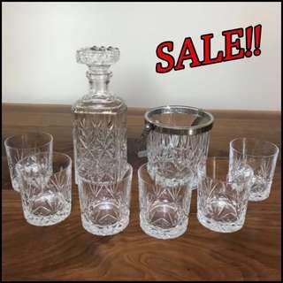 *SALE* French Crystal Glass Set w/ Decanter & Ice Bucket