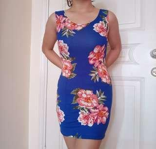 Blue Sleeveless Floral Dress