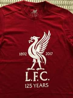 New Balance (NB) 💯% Authentic red Liverpool '125 years' t-shirt for SGD$22 (size GB S, US S, EU S, Asia M)